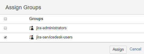 Click On Assign Groups And Choose Jira Servicedesk Users
