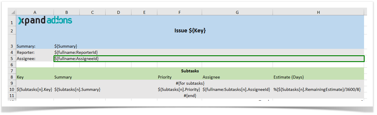Excel Templates Xporter For Jira 530 Xpand Add Ons Confluence
